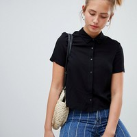 Pull&Bear tie front blouse in black at asos.com