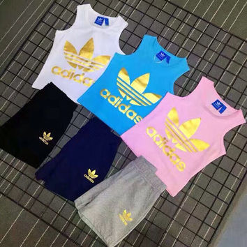 """Adidas"" Print Short sleeve Top Shorts Pants Sweatpants Set Two-Piece Sportswear (Children's clothing)"