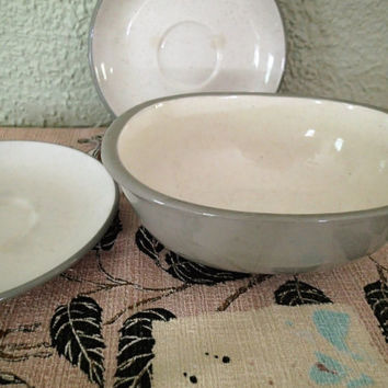 Harkerware Stone ware White Cap oval vegetable bowl and 2 saucers