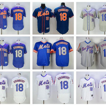 New York Mets 18 Darryl Strawberry Jersey Throwback Flexbase Baseball Jerseys Cool Base Pullover White Pinstripe Grey Camo Blue Orange