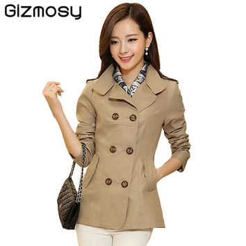Spring Coat Short Trench Coat For Women Plus Size Outerwear Slim Fit Women's Double Breasted Trench Winter Coats BN917