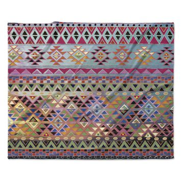 "Nika Martinez ""Tribal Native"" Red Pattern Fleece Throw Blanket"