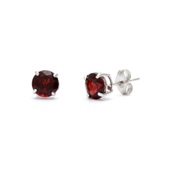 14k White Gold Round Red Crystal Diamond Stud Earrings