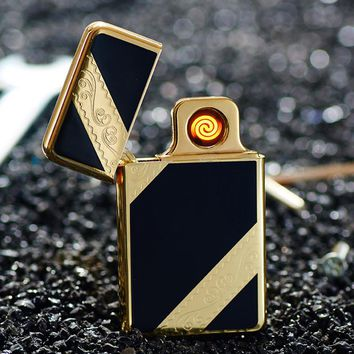 Personalized creative metal windproof USB charging double-sided cigarette lighter can replace the electric wire