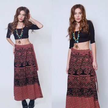 Vintage INDIAN Wrap Skirt Boho Maxi Skirt ELEPHANT & PEACOCK Hippie Skirt Ethnic Festival Skirt 90s  Printed Skirt