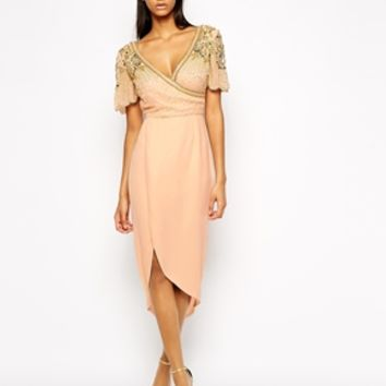 Virgos Lounge Julisa Wrap Front Midi Dress With Embellished Shoulder at asos.com