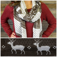 Sleigh Bells Brown Deer Print Scarf