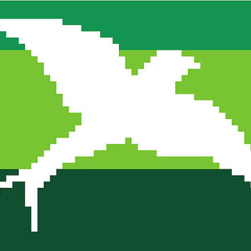 Flying bird in negative silhouette against a green striped background. Modern cross stitch. Contemporary cross stitch pattern.