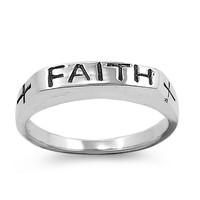 925 Sterling Silver Faith Word in Plain Block Ring