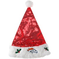 Denver Broncos Sequined Santa Hat - Red/White