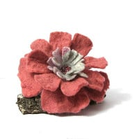 Felt Brooch Pink Felted Wool Jewelry Handmade gift Spring Accessories  pink  brooch gift for her