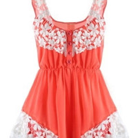 ROMWE Sleeveless Lace Orange Playsuit