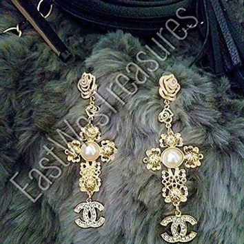 DCCKG2C EWT Royal Crown ANTHROPOLOGIE BAROQUE Zara style gold and pearl accented Large Cross drop dangle Statement Earrings/large Cross dangle earrings