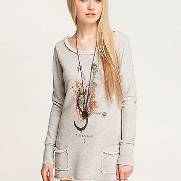 Light Grey Frayed Sweatshirt Dress