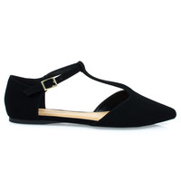 Bryden Black By City Classified, Women's Pointed Toe Flat w Double Open Shank D'Orsay T-Strap Pump
