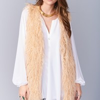 Luis Vest With Tassels ~ Rose All Day Faux Fur