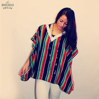Bohemian Poncho Top Mexican Textile Layering Shirt Boho Hippie Gypsy Upcycled Clothing Recycled Eco-Friendly OOAK by TheBohemianDream