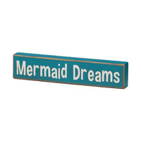 Mermaid Dreams - Vintage Coastal Mini Wood Sign - 8-in
