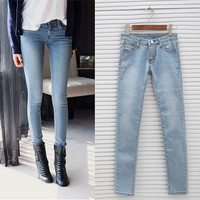 2015 New Women Jeans Fashion Korean Style Retro Vintage Slim Feet Light Blue Skinny Denim Pencil Pants Lady Girl Casual Trousers