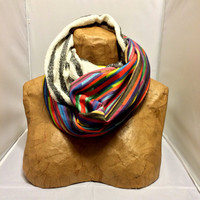 Colorful Knit Scarf - The Hybrid Broken Stripes Infinity Scarf - LIMITED EDITION