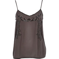 River Island Womens Dark grey floral embroidered cami top