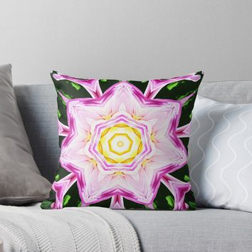 'Dahlia Manipulation 3' Throw Pillow by Karen Stahlros