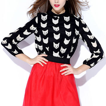 Black Cat Patterned Long-Sleeve Shirt