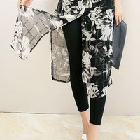 Black Floral Print Sheer Chiffon Skirt