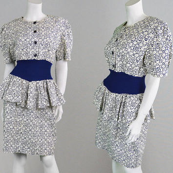 Vintage 80s Peplum Dress White & Blue Party Dress Cocktail Dress Pencil Skirt Flared Skirt Secretary Dress Cotton Dress 1980s Dress Ruffle