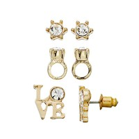 Juicy Couture ''love'' & Ring Stud Earring Set (White)
