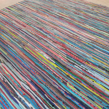 8x10 Rag Rug / Scandinavian Style / 8 by10 Scrap Multi Color Area Rug /5 by 8 Large Floor Rugs / Boho Rug / Vegan Boho Chic FREE Shipping