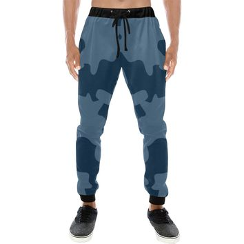 Navy Blue Camouflage Camo Joggers Sweatpants For Men