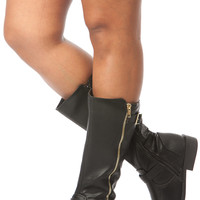 Black Faux Leather Quilted Calf Length Boots