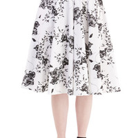 ModCloth 50s, French Long High Waist Benefit of the Flounce Skirt in White Floral