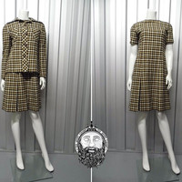 Vintage 60s Mod CRESTA Wool Dress Suit Two Piece Jackie O 1960s Ladies Checked 2 Piece Gingham Womens Tweed Suit Skirt Jacket Tartan Plaid