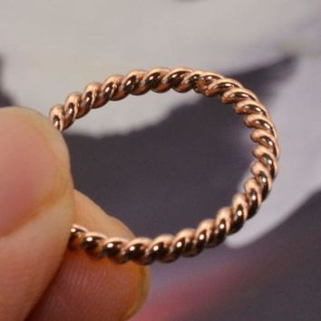 VONEYW7 simple twist knuckle rings small section tail ring plating 18k rose gold small ring