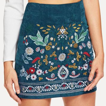 Meadow Fox Botanical Embroidered Skirt