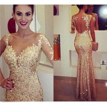 2016 Sexy golden mermaid Long Prom Dresses Formal Evening Party dress Ball Gown Free shipping
