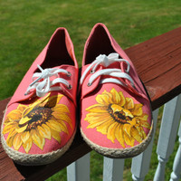 Pretty Sunflower Hand Painted Garden Shoes size 10