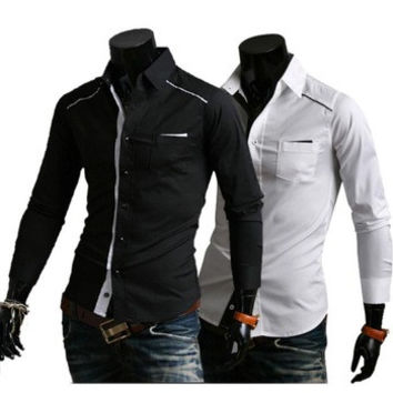Mens Fashion Slim Fit Casual Dress Shirts