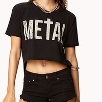 Cool Letters Print Back Strip Cutout Irregular Tee from shopgirl8