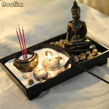 NOOLIM Zen Garden Kit Decor Meditation Sand Rocks Incense Candle Holder Rake Feng Shui Candlestick Home Ornament Decorations
