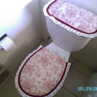 Wine Color Flowers - Toilet/Tank Cover - Ready To Ship