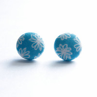 White Flowers on Blue Background Print Fabric Covered Button Earrings NICKEL FREE