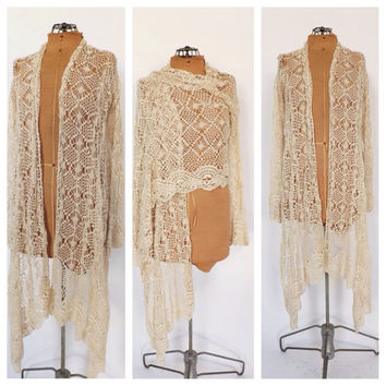Vintage 90s does 70s Crochet Knit Sweater Shawl Cream Shawl Boho Wrap 1920s Style Piano Scarf Crochet Lace Top SoCal Hippie Shirt