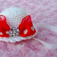 Mini bonnet headband, newborn headband, infant headband, mini hat, photo prop, unique, reborn doll headband, JaminaRose original, headband