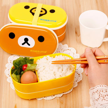 Double-layered Lovely Cartoons Lunch Box [11499260495]