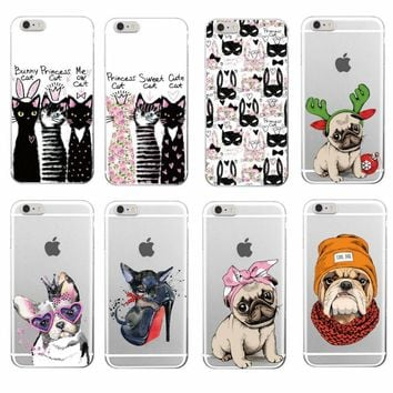 Cute Puppy Bunny Cat Princess Meow French Bulldog Soft Phone Case Coque Funda For iPhone 7 7Plus 6 6S 6Plus 8 8Plus X Samsung