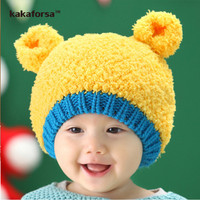 Winter Cute Baby Warm Beanies Fashion Crochet Acrylic Little Bear Hat for Children High Quality Boys Girls Solid Cap