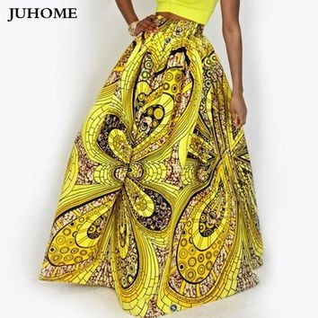 2017 new autumn Fashion Women African Print Long Skirts Ankara Dashiki High Waist Maxi Umbrella Skirts Ladies Jupe Longue Femme